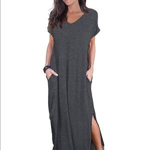 Gray women's maxi dress with pockets and slits